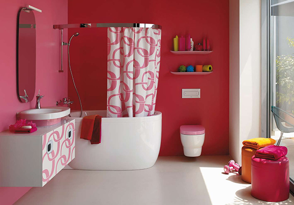 Cortinas De Baño Rosa:Pink Bathroom Ideas