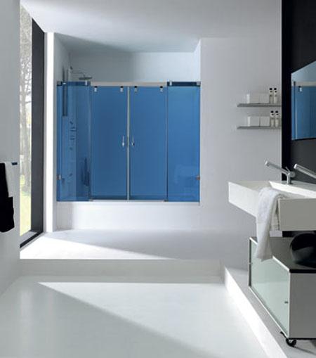 Diseno De Baño Grande:Tags: azul , baños grandes , baños modernos , blanco