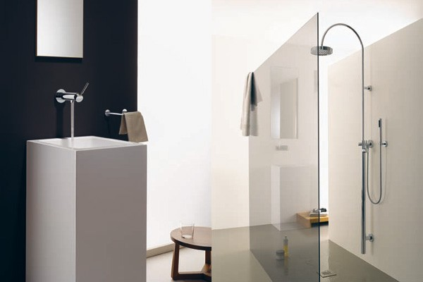 Ba os modernos minimalistas en dos colores muebles de for Accesorios para banos pequenos modernos