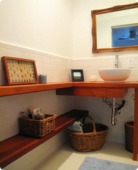 Estantes Para Baño En Madera:Baño cálido