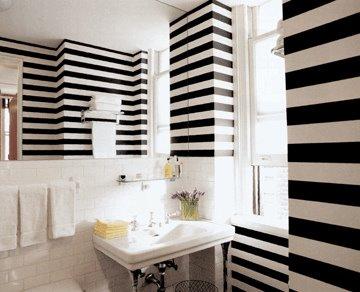 Ba o blanco y negro a rayas muebles de ba o debanos com - Banos con paredes pintadas ...