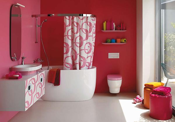 Baño para niñas rosa