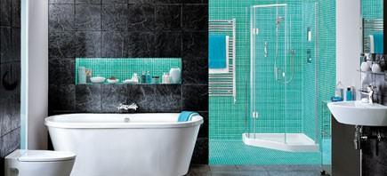baño verde y negro