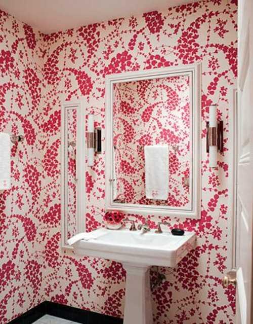 tapiz rosa para baño